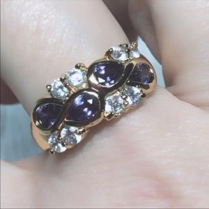 Vintage Purple Stone Gold KT Ring Size 9
